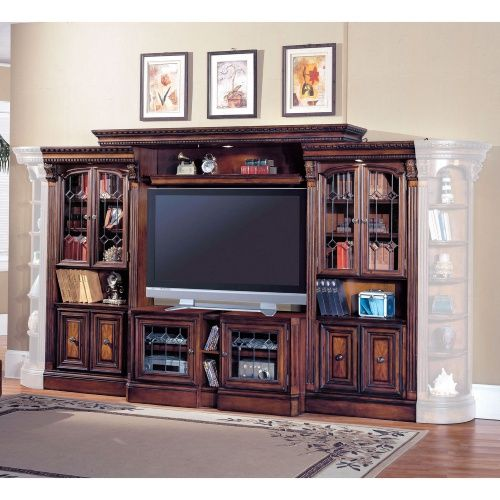Bookcases products and entertainment center on pinterest for Media center with bookshelves