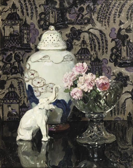 Jules-Alexandre Grün (French, 1868-1934) Still life with porcelain elephant and roses in a glass bowl signed 'Grün' (lower right) oil on canvas 92 x 73.5 cm.