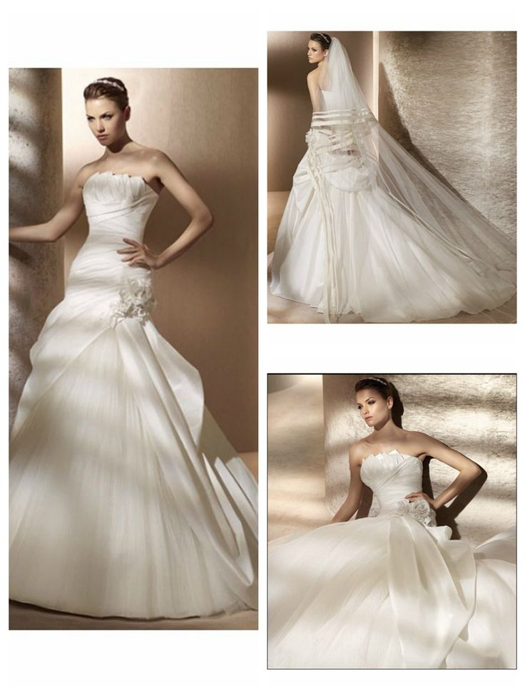 Asymmetrical Ruched Bodice Draped Underskirt A-Line Gown Lucky Wedding Dress