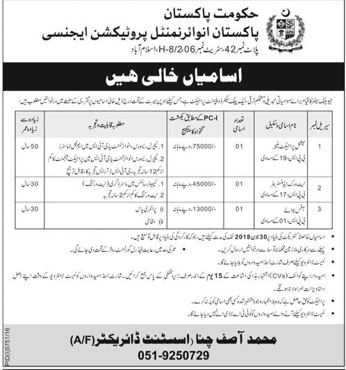 Jobs in Pakistan Environmental Protection Agency, Government of Pakistan