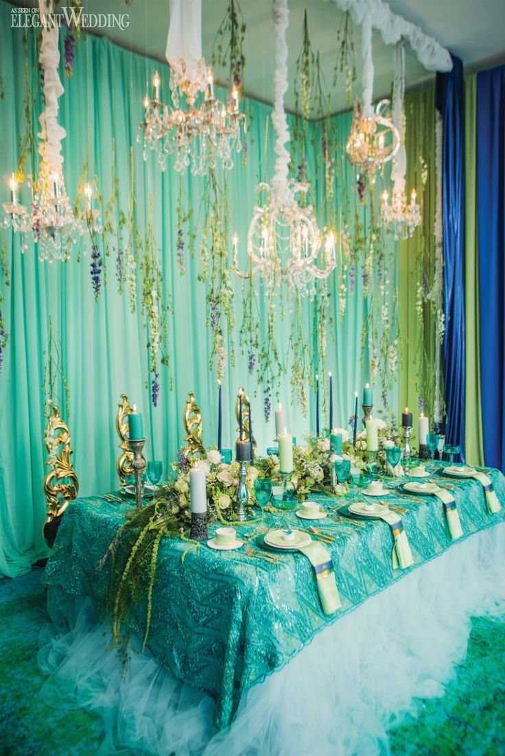 tiffany blue and black wedding decorations%0A Hanging florals  gold chairs and a fitted blue gown all played a crucial  role in transporting us  u   cUnder The Sea u   d for this mermaidinspired wedding  shoot