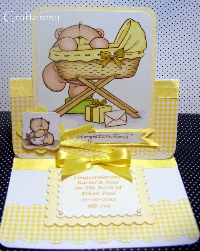 PERSONALISED BABY Easel Card Cute Bear & Cradle Congratulations Birth. Christening or Baptism Gingham. £3.99, via Etsy.