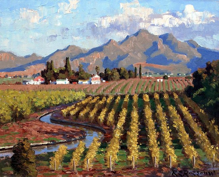 A Canal Runs Thru It by Roelof Rossouw ~ vineyard ~ oil on canvas