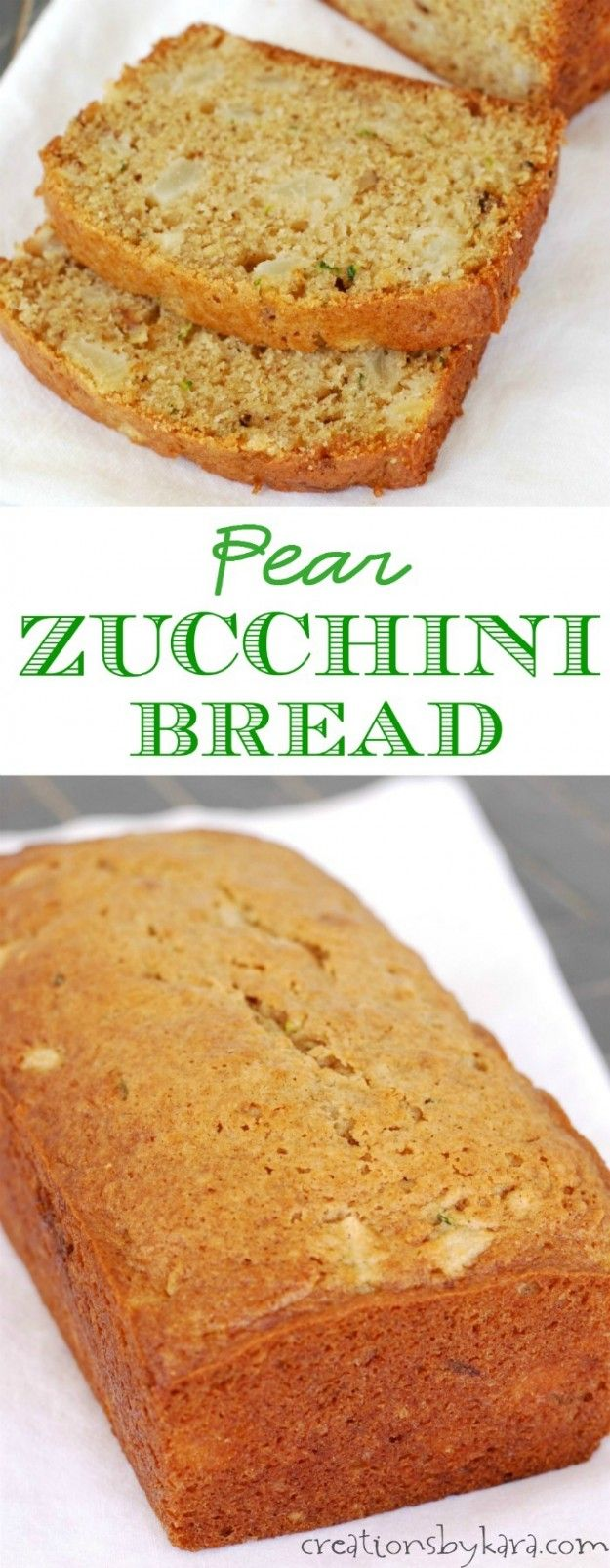 Chunks of juicy pear make every bite of this zucchini bread extra yummy!