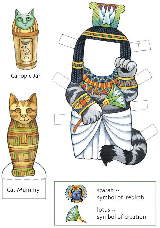 Lucky Cats Paper Dolls: Maneki Neko ~ Egyptian kitty