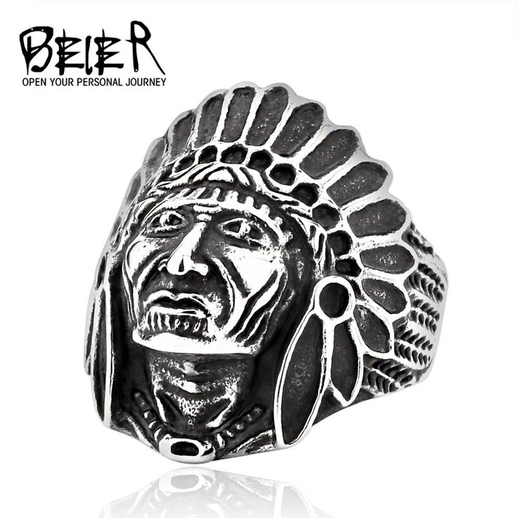 BEIER Indiana Ring Chief Stainless Steel USA Indiana Motorcycle Rider Fashion Men's Skull Ring  BR8-231 US Size 7-13