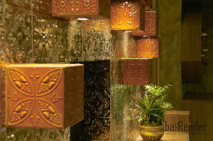 Embossed traditional tiles by Aparici - Custom-made wall-mounted luminaires - Barbalexis Oriental Restaurant in Athens