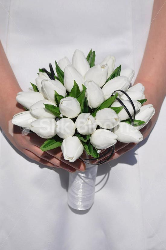 Classic White 'Fresh Touch' Dutch Tulips & Foliage Bridesmaid Wedding Bouquet #artificialflowers #silkflowers #silkwedding flowers #bridalbouquet #bridesmaidbouquet