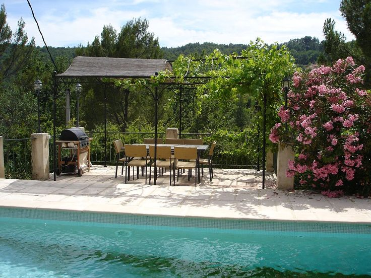 Seillans villa rental - but it's time for lunch, or a drink in the pergola