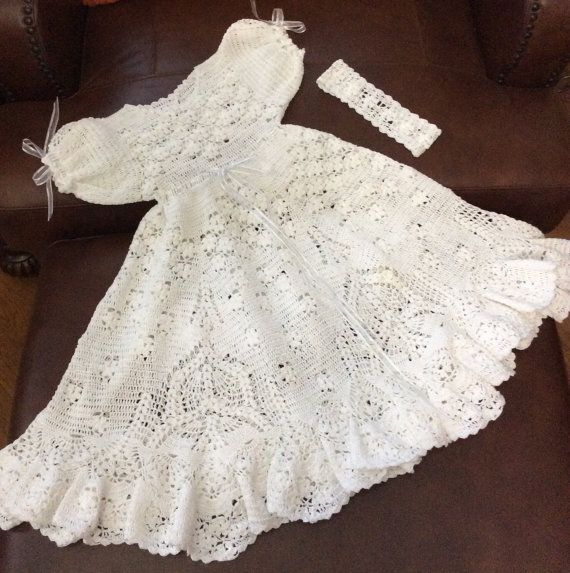 Field of flowers christening outfit Crochet pdf pattern. Instruction for gown, bonnet and booties.