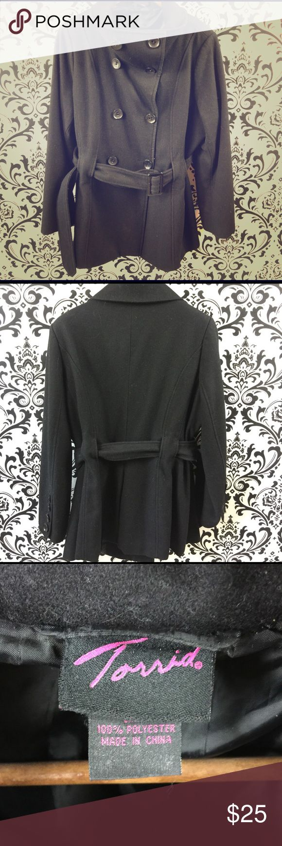 Black torrid pea coat size 2x High quality black pea coat from torrid size 2X. Bundle and save! Offers are welcome! torrid Jackets & Coats Pea Coats