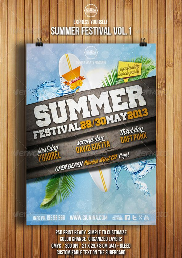 Summer Festival Flyer Vol.1 This flyer was designed to promote an music event on the beach or during the summer, concert, summer festival, dj set, party or weekly event in a music club and other kind of evenings. DETAILS • Print Ready • CMYK • A4 Format (21×29,7 cm + bleed) • 300 dpi • Organized Layers • Very Simple To Customize • Color change • Help File