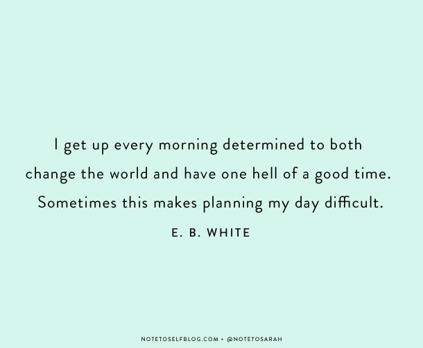 I get up every morning determined to both change the world and have one hell of a good time. Sometimes this makes planning my day difficult. E.B. White #quote