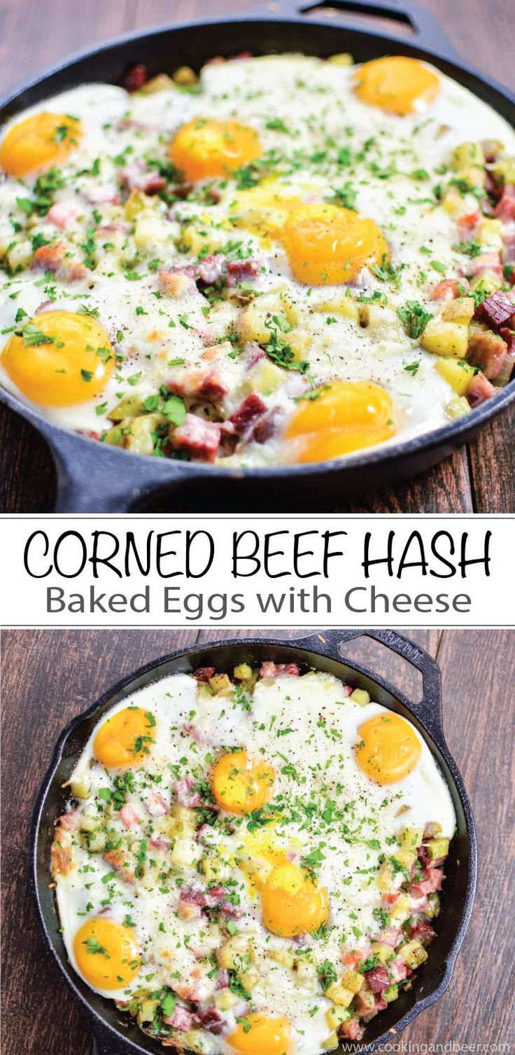 A St. Patrick's Day must-have: Corned Beef Hash Baked Eggs with Cheese recipe is perfect for breakfast or dinner!  | www.cookingandbeer.com