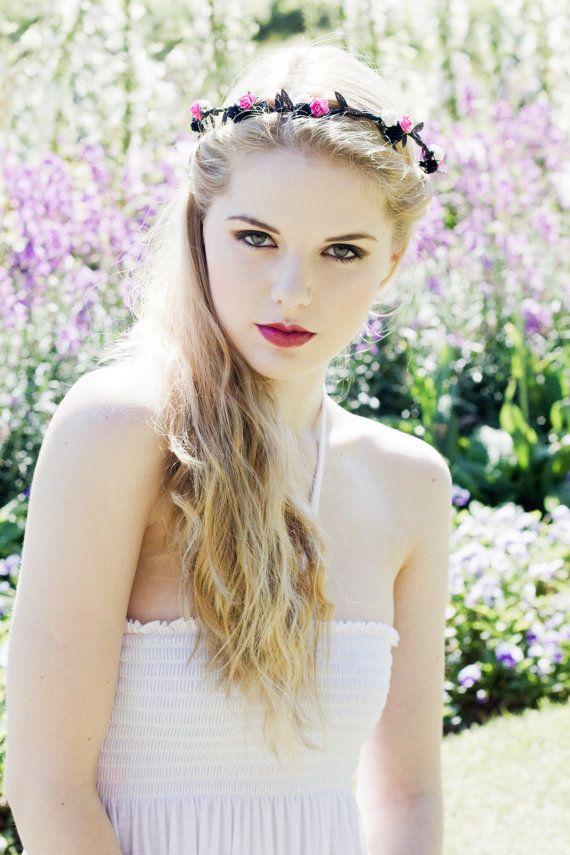 Flower Crown, Rose Flower Crown, Pink, White and Black Flower Crown, Floral Garand, Festival Flower Crown, Coachella, Bridal Headband on Etsy, £9.00