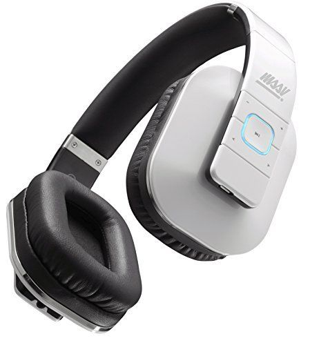 Bluetooth Headphones MSSV Flux V40 Bluetooth Wireless Headphones with Mic Passive Noise Isolation NFC and aptX for iPhone iPad iPod Samsung Travel Gym and Exercise White *** Find out more about the great product at the image link.
