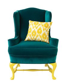 A coat or two of paint can enliven simple, inexpensive wood furniture or breathe new life into an antique found in the attic. In some cases it can replace a decorative piece altogether.: Decor, Ideas, Modern Chairs, Living Room, Chair Makeover, Yellow, Furniture