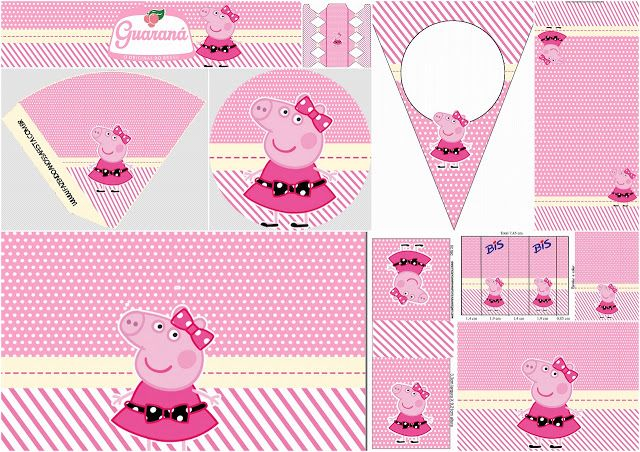 Miss Peppa Pig: Free Printable Birthday Party Mini Kit.