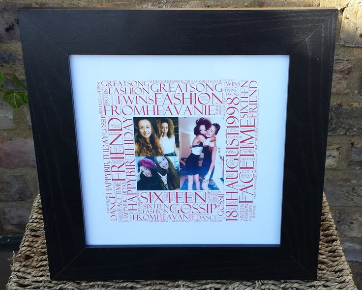 Birthday Picture Word Art Square in a white frame