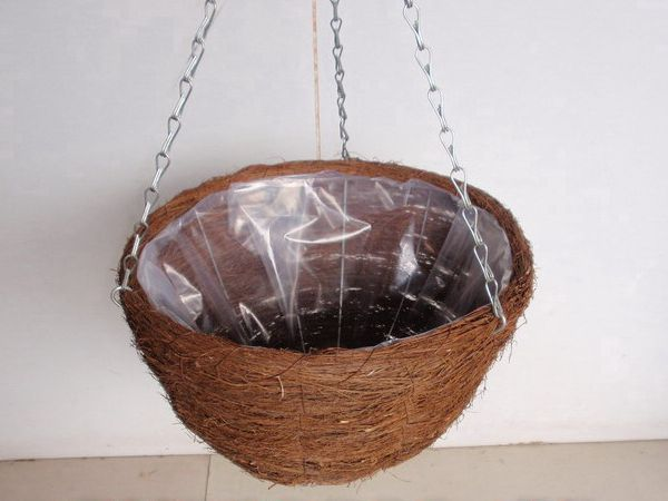 3 Strand Galvanised Chain Strengthened By Internal Wire Frame Rattan Round Flat Bottomed Fully Lined Hanging Basket