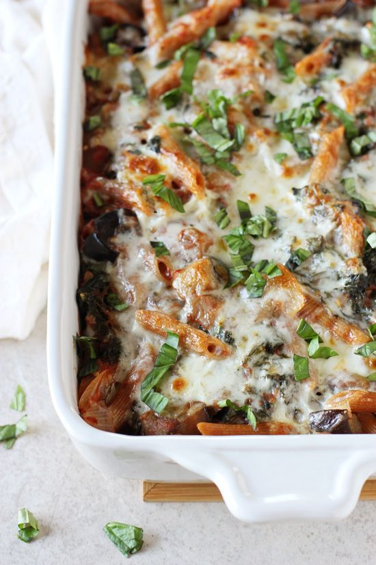 Recipe for kale and eggplant baked ziti. A comforting pasta dish filled with veggies! With a simple homemade sauce and plenty of cheese!