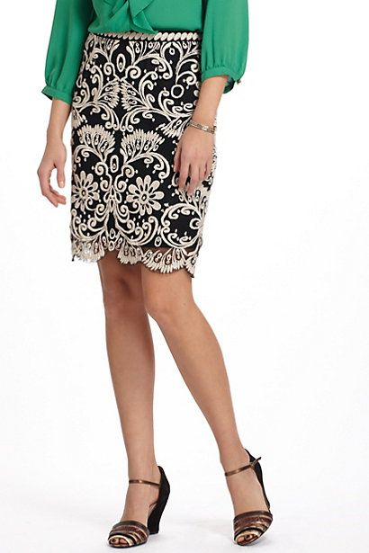 Embroidered Lace Pencil Skirt #anthropologie