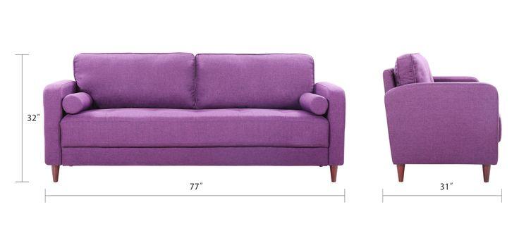 Lugo Mid Century Modern Linen Fabric Living Room Sofa