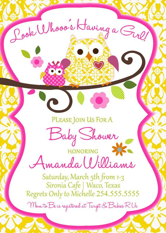 Owl Baby Shower Invitation Digital File Only