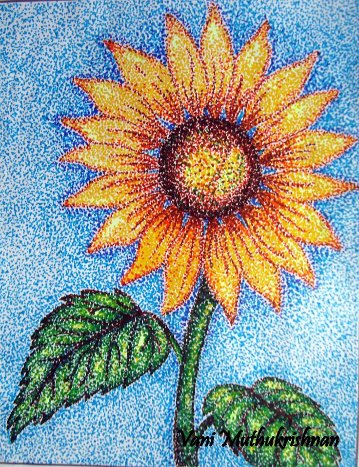 pointillism | Pointillism sunflower