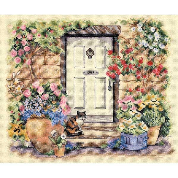 Garden Door Kitty Counted Cross Stitch