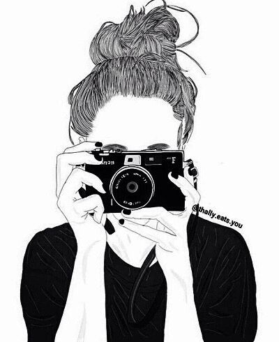 Photographer girl outlines