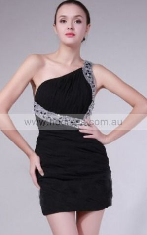 Sheath One Shoulder Short Chiffon Natural Formal Dresses gt0753--Hodress