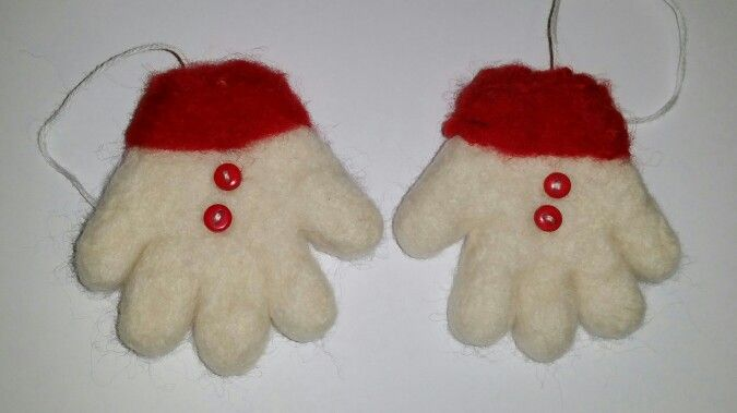 Needlefelt xmas tree  decoration snowman gloves