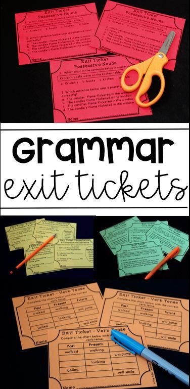 Grammar Exit Tickets! Great for quick post-assessments on ELA skills! Covers common core standards!
