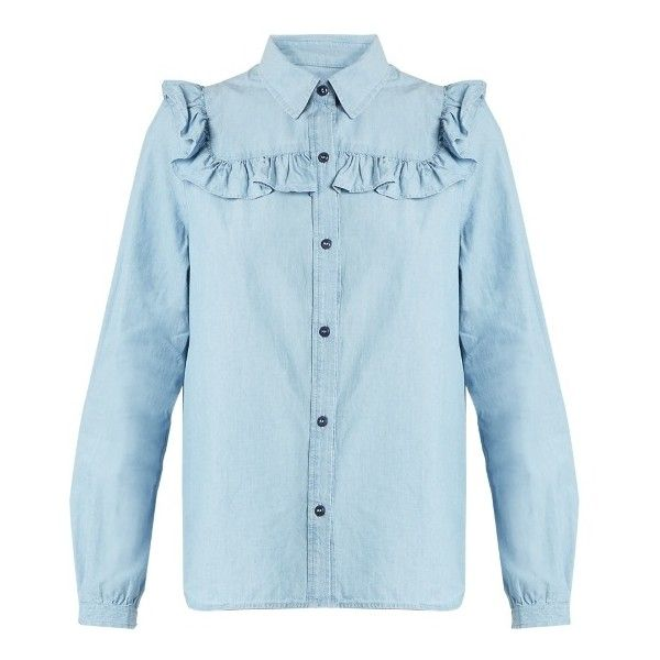 A.P.C. Memphis cotton-chambray shirt ($171) ❤ liked on Polyvore featuring tops, light blue, blue ruffle shirt, frill top, light blue shirt, relaxed fit shirt and flutter-sleeve top