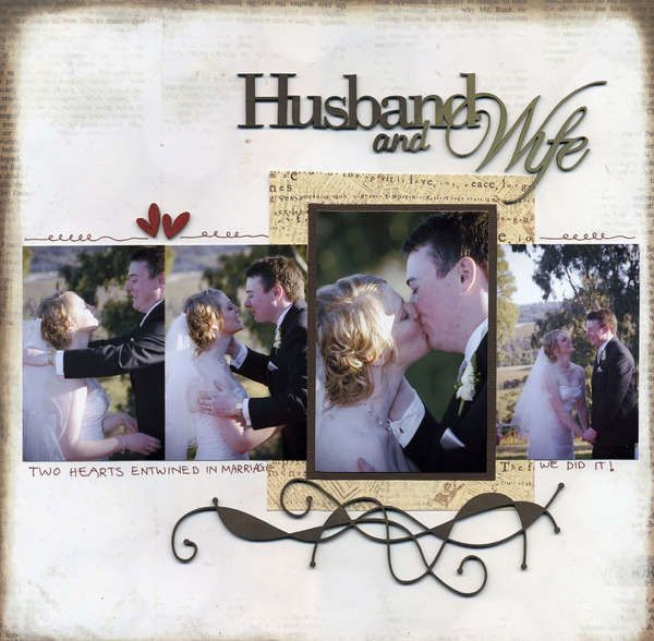 Wedding - cream and black and red - flourishes - 4 photos - Husband and Wife scrapbook layout page