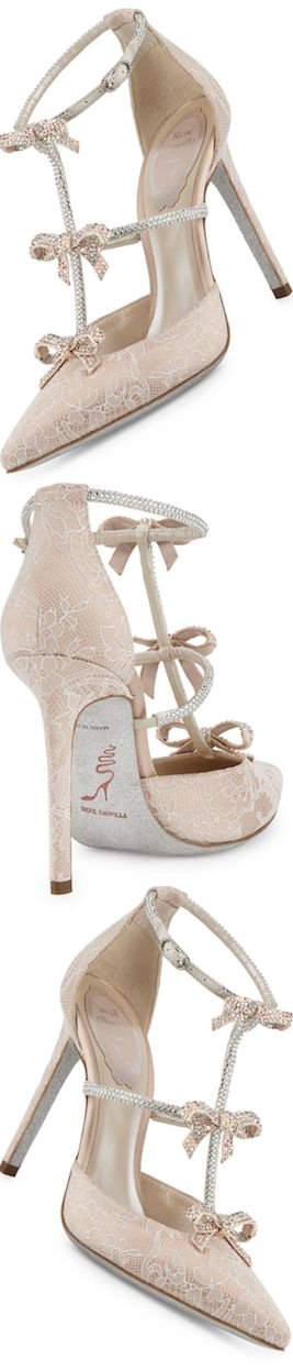 Rene Caovilla Crystal Bow-Embellished T-Strap Pump, White