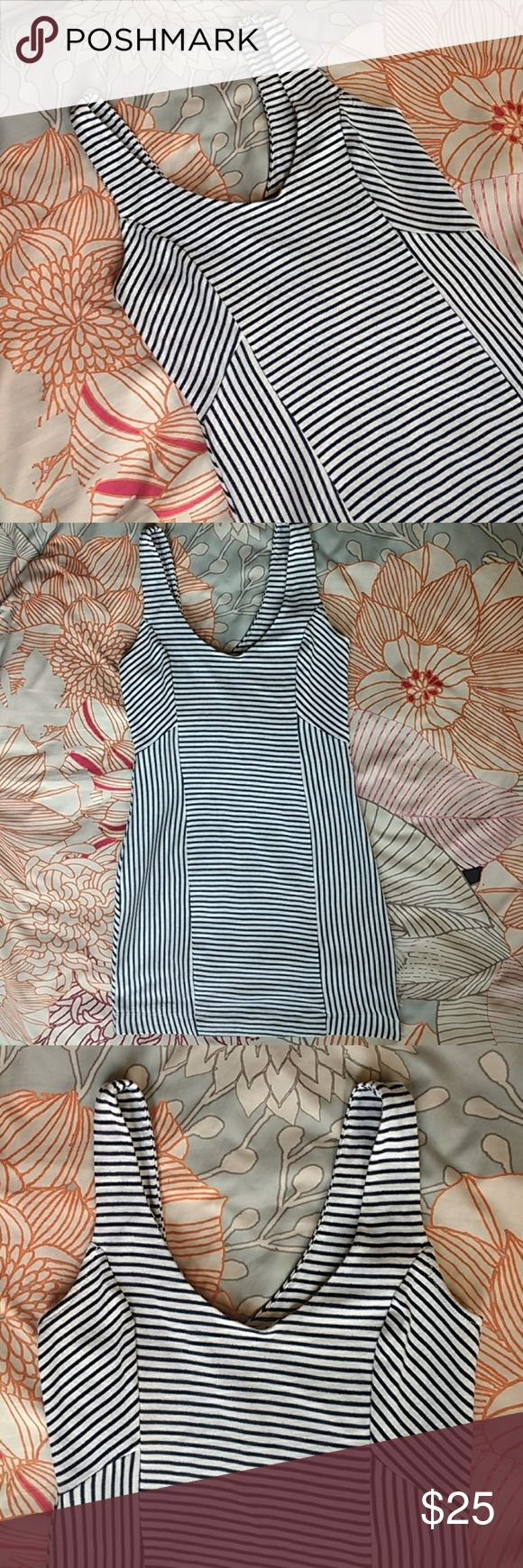 Lush Black and White Striped Bodycon dress sz LG Lush Black and White Striped Bodycon dress sz LG  Garment is in good pre-owned condition. The white is not super bright and can look off white in different light. Cotton/polyester blend. Lush Dresses Mini