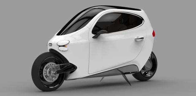 Lit Motors C-1 Rendering.  Electric motorcycle with balance gyros to keep it standing when you stop.  Landing legs to park.