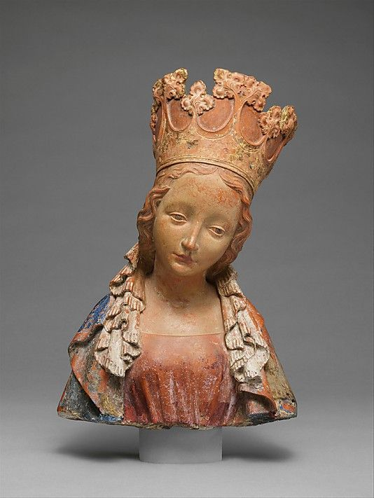 Bust of the Virgin, ca. 1390–95. Bohemian. The Metropolitan Museum of Art, New York. The Cloisters Collection, 2005 (2005.393) | Elegiac, dignified, and poised, the Virgin tilts her youthful head as if burdened by the weight of the ornate crown, and her downcast eyes and pursed lips convey her sorrowful resignation. #cloisters