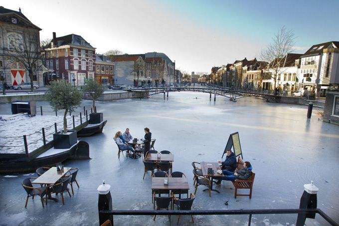The canals in Leiden, Netherlands, frozen over.