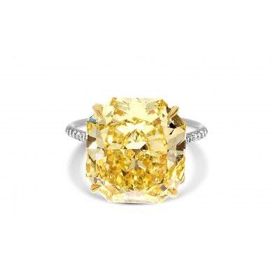 10.38 Ct Radiant Cut Fancy  Yellow Diamond  Engagement Ring MT1004