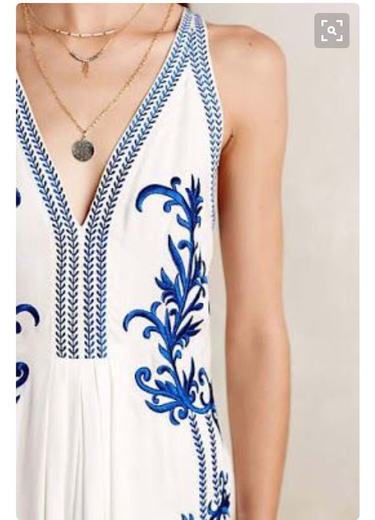Love this Blue and white spring dress with layered necklaces Stitch fix spring 2016