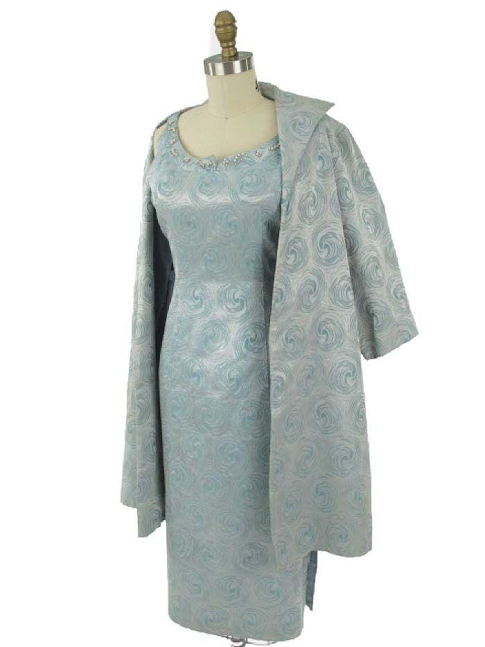 60s #LilliDiamond Aqua Brocade Dress Coat Set #60sdresses #60scocktaildress