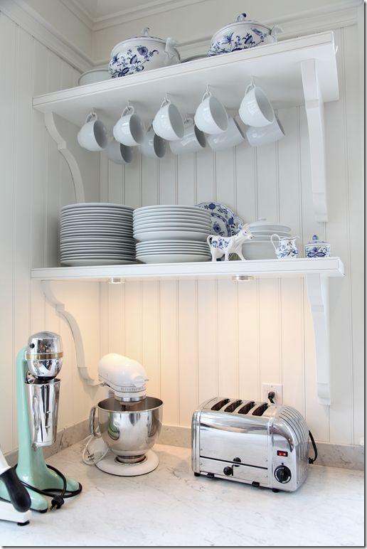 I love these display shelves.: White Kitchen, Open Shelves, Inspiration, Open Kitchen Shelving, Kitchen Ideas, Open Kitchens, Open Shelving, Storage