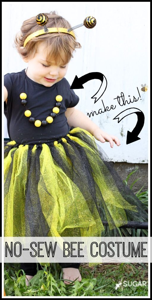 how to make a no sew bee last minute costume - this is such a cute and simple idea for halloween costumes - and great tutorial!! - - Sugar Bee Crafts