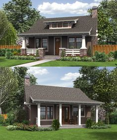 Architectural Designs Bungalow House Plan 69623AM gives you a master bedroom plus a guest bed hidden behind sliding barn doors. Just under 1,000 square feet. Ready when you are. Where do YOU want to build?