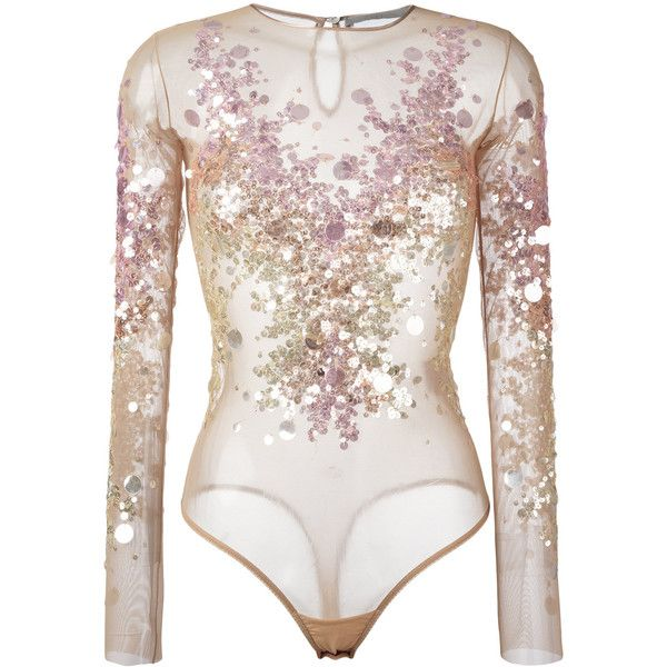 Amen sequin embellished bodie (€330) ❤ liked on Polyvore featuring bodysuits, tops, body, shirts and blusas