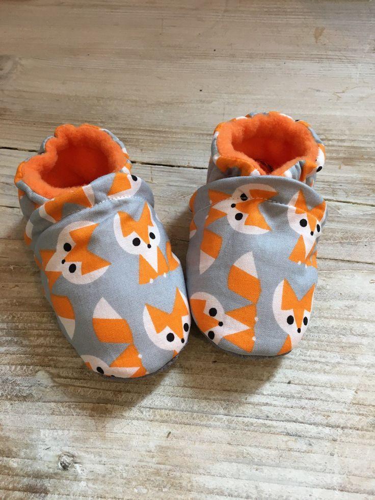 Chaussons TAILLE 12 MOIS Coton biologique motif renard doublés polaire orange et antidérapant : Mode Bébé par graindebois