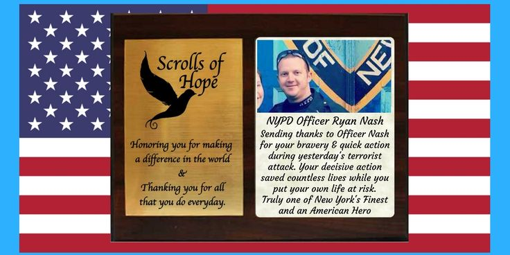 """Honoring NYPD Officer #RyanNash for being a #true #hero. Scrolls of Hope sends you a Plaque of #Appreciation. Thank You #Lifesaver #Police Not just a """"Message in a Bottle' It's all about 'Connection'"""